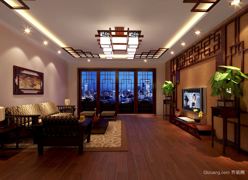 2016年别墅型中式客厅装修效果图