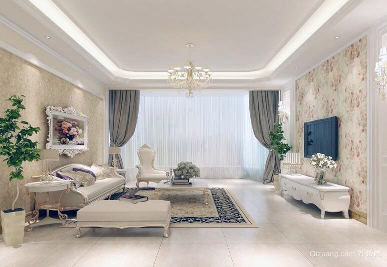 三居室舒心轻快客厅吊顶装修效果图实例
