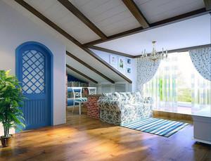 2016大户型现代斜顶阁楼装修效果图实例