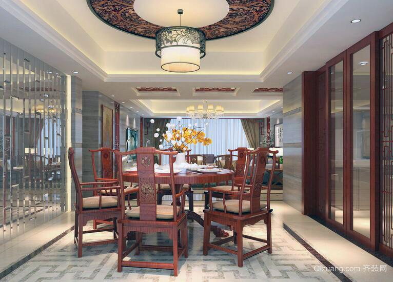 2016别墅型现代中式餐厅家装装修效果图