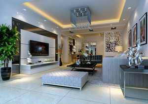 21世纪欧式大户型客厅影视墙装修效果图