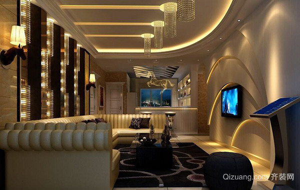 别墅型欧式风格两室一厅客厅装修效果图