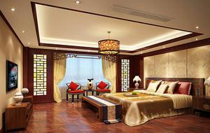 2016现代中式家装卧室背景墙装修效果图