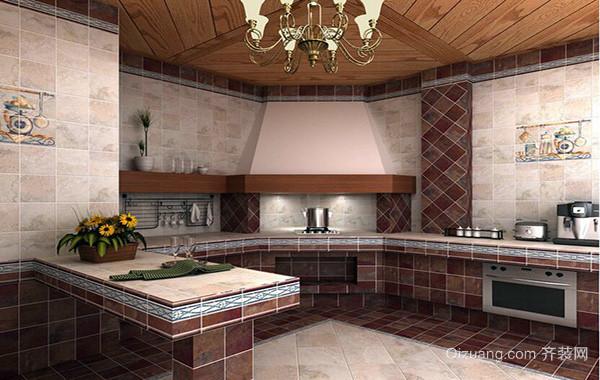 欧式自建别墅家庭厨房橱柜装修效果图欣赏