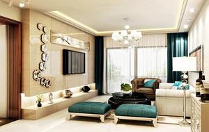 欧式精致三居室客厅电视墙背景装修效果图