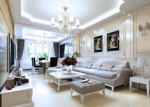 120平米别墅型欧式房子客厅吊顶装修效果图