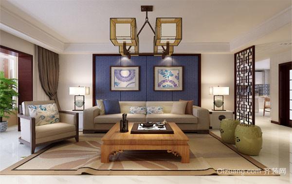 120平简欧自然风格客厅背景墙装修效果图