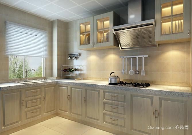 120平美式乡村田园风格厨房装修效果图