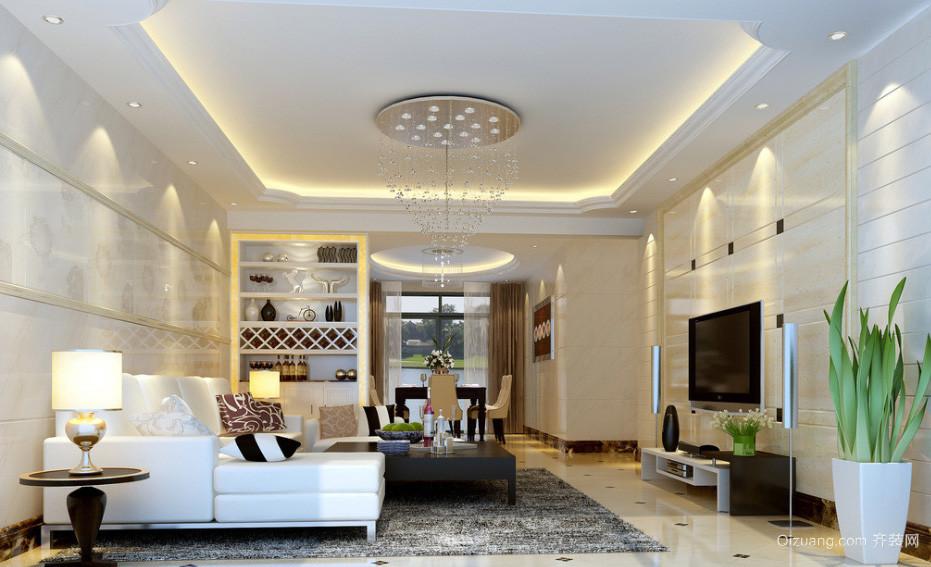 120平大户型简约时尚客厅水晶吊灯装修效果图
