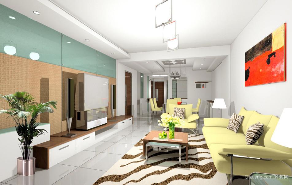 新款大户型简约时尚精致客厅电视背景墙装修效果图