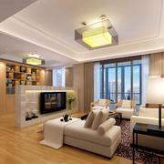 经典复式小楼简约精致客厅背景墙装修效果图