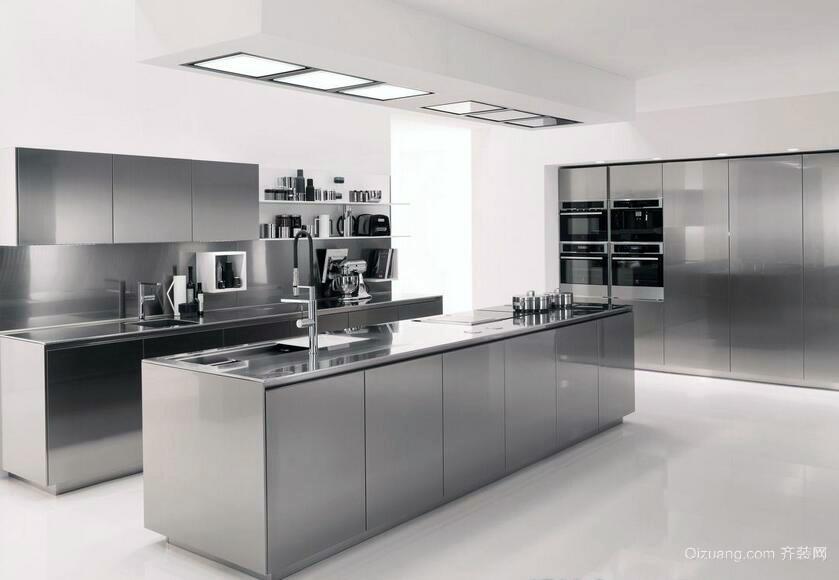 别墅型简欧风格不锈钢橱柜装修效果图实例