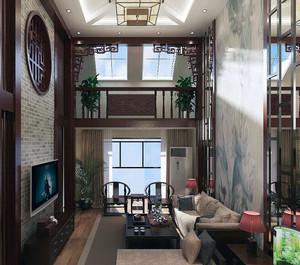 现代中式唯美复式楼室内装修效果图