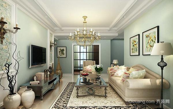 120平米别墅美式风格客厅吊顶装修效果图