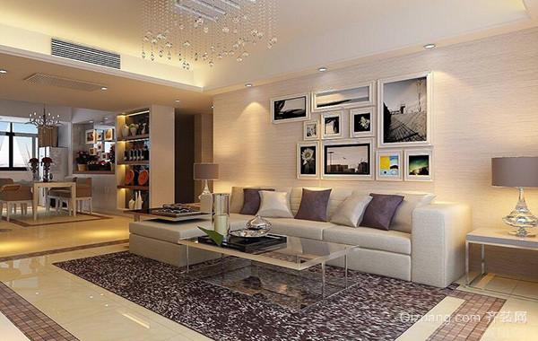 2016三居室欧式风格客厅沙发背景墙装修效果图