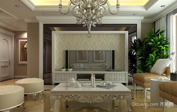 40平米欧式小户型客厅电视背景墙装修效果图