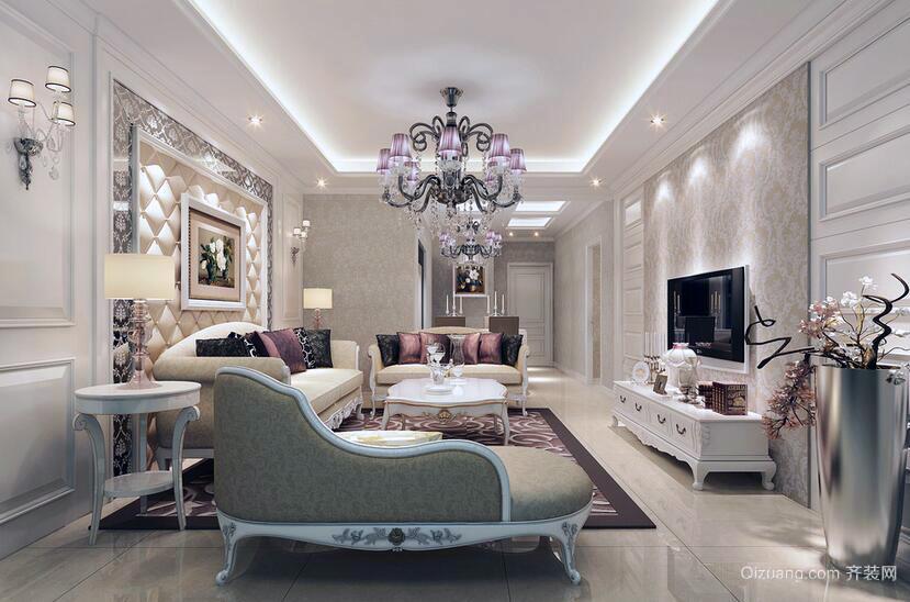 2016唯美大户型简欧风格客厅装修效果图