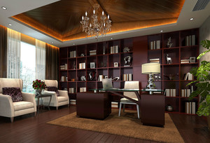 中式豪华奢侈级别的书房装修效果图图片
