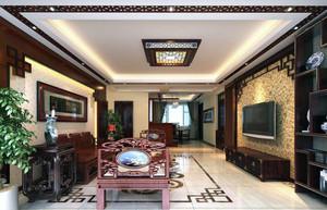 三居室精致的现代中式客厅装修效果图