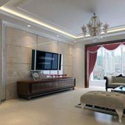现代欧式别墅型电视墙背景装修效果图