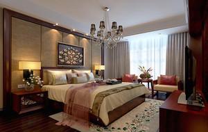 120平米大户型现代中式卧室吊顶家装效果图