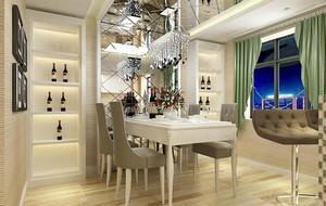 2016别墅现代简约餐厅背景墙装修效果图