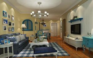 轻快的别墅地中海风格客厅背景墙装修效果图