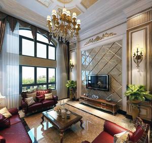 现代欧式复式楼客厅吊顶装修效果图