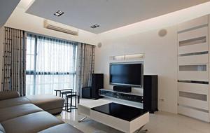 小型性单身公寓客厅电视背景墙装修效果图