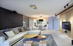 单身公寓现代客厅电视背景墙装修效果图