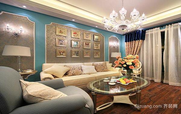 小清新精致时尚简约客厅背景墙装修效果图