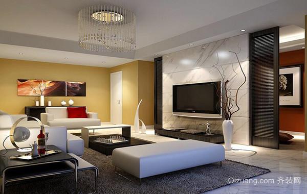 现代简约别墅家居客厅电视背景墙装修效果图