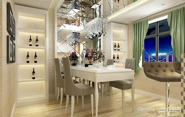 120平米别墅型欧式风格餐厅背景墙装修效果图