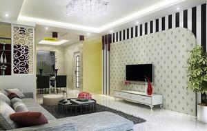 欧式客厅三居室家装电视背景墙装修效果图
