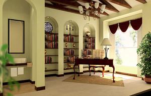 复式小楼自建别墅精致大气书房装修效果图