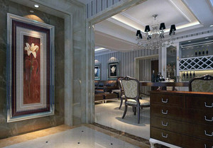 二居室欧式客厅玄关隔断装修效果图鉴赏