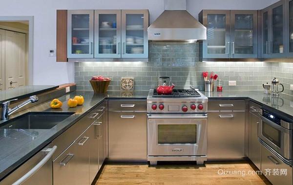 120平米精致大户型厨房不锈钢橱柜装修效果图