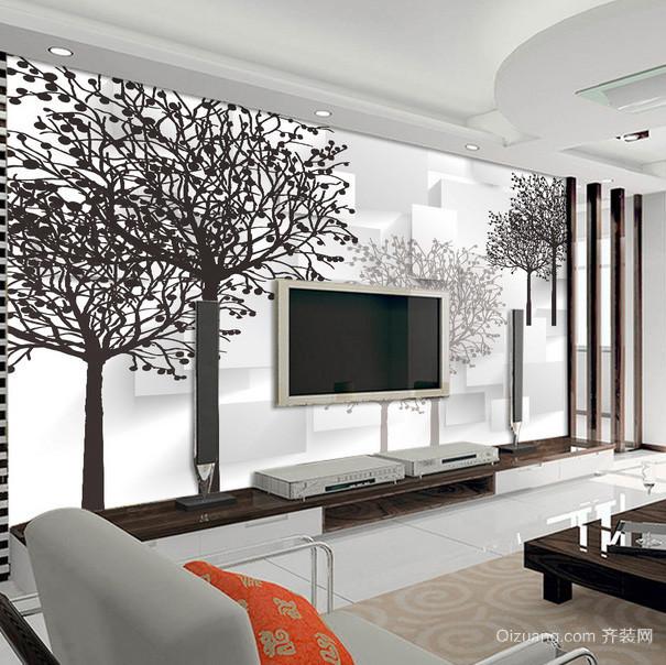 后现代风风格时尚经典客厅背景墙装修效果图