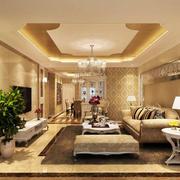 90平米欧式家庭客厅室内装修效果图