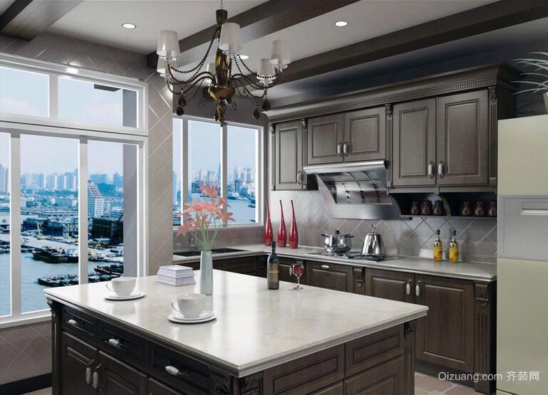 典雅唯美的大户型欧式厨房装修设计效果图