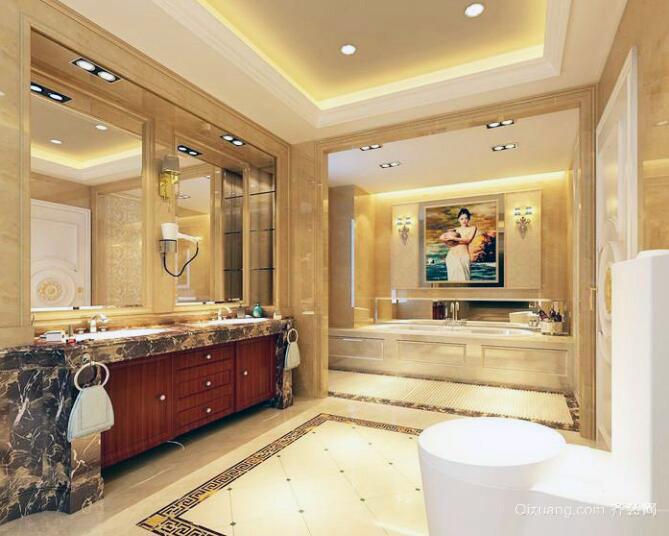 现代别墅型欧式家庭卫生间装修效果图片