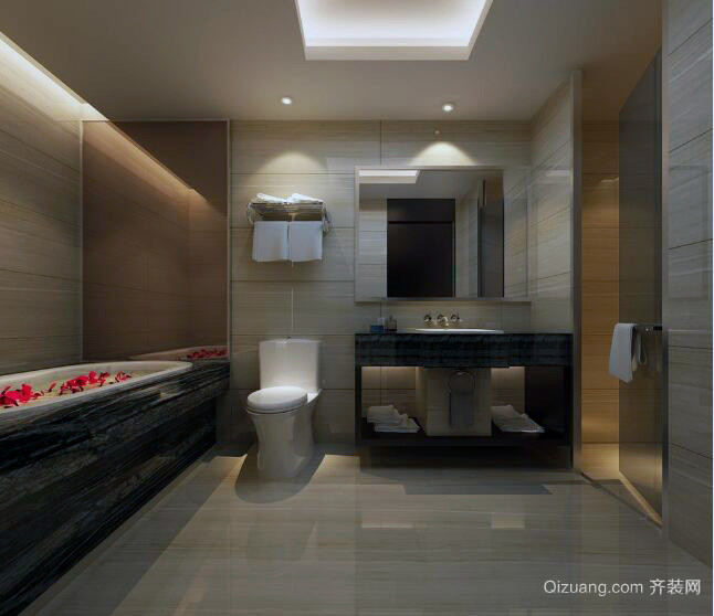 宜家唯美的大户型卫生间装修设计效果图