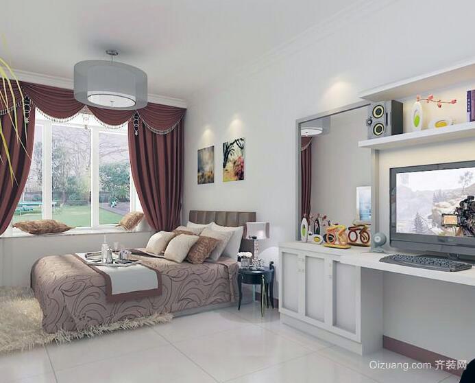 现代欧式小户型家庭房间窗帘装修设计效果图