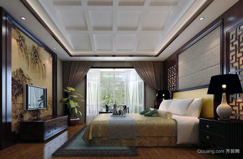 别墅型现代中式家装卧室室内装修效果图