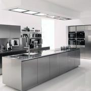 2016大户型现代厨房不锈钢橱柜装修效果图