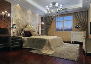 欧式大户型家庭简单卧室背景墙装修效果图