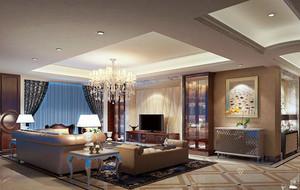 欧式经典的两室一厅客厅装修效果图欣赏