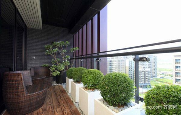 现代都市时尚别墅阳台装饰示范图