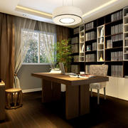 现代豪华时尚中式书房装修效果图