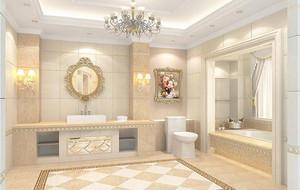 欧式风格别墅型洗手间背景墙装修效果图